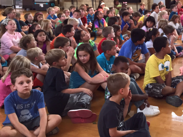 © Canyon Lake Elementary students sat in their gym during a presentation, Sept. 8, 2017