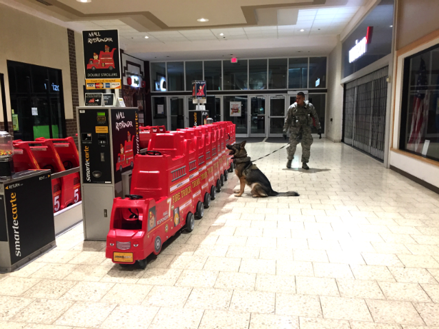 © Ellsworth Military dog trains alongside his partner detecting bombs in Rushmore Mall. Sept. 24, 2017