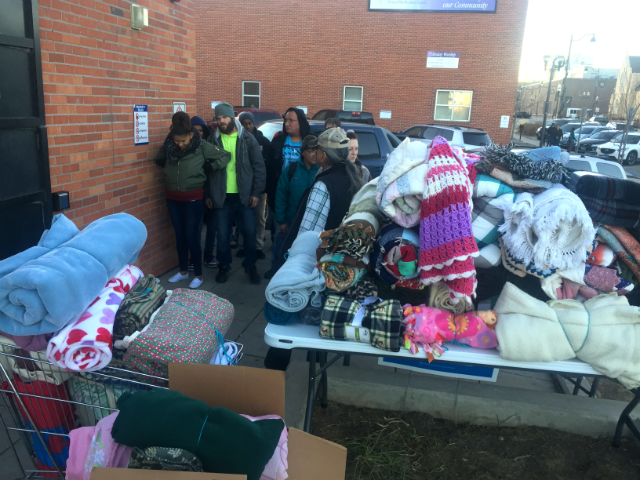 © People in need picked up donated blankets from the HOPE Center, Nov. 13, 2017