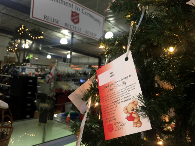 © The Salvation Army is asking the community to take a tag from an Angel Tree Tag  located throughout the Black Hills and purchase a gift for a child in need, Nov. 20,2017
