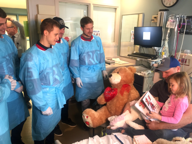 © Six members of the Rapid City Rush visit 5-year-old Logan in Pediatrics at Regional Hospital, Monday, Feb. 5, 2018